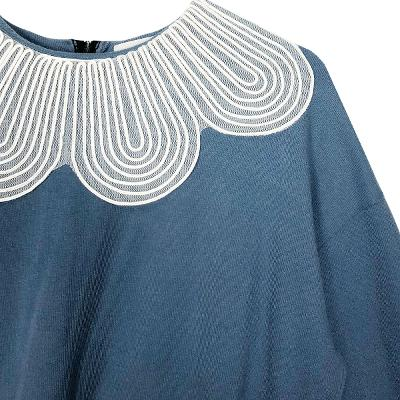 wide collar top & banding skirt sky blue